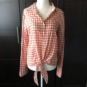 J. Crew Gingham Tie Front Top - NWT